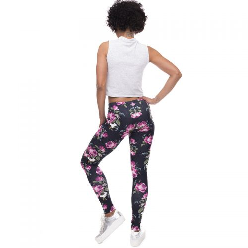 high waist leggings roses