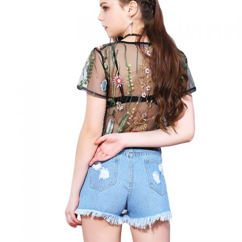 Transparent Flower Embroidery Top 2