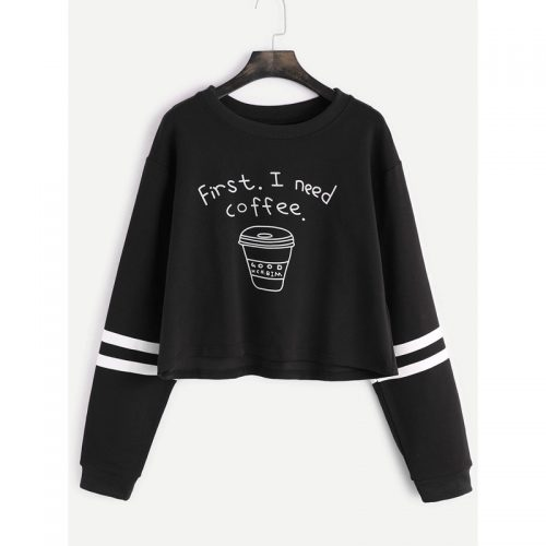 First I Need Coffee Cropped Sweatshirt black