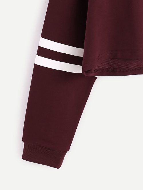 First I Need Coffee Cropped Sweatshirt burgundy