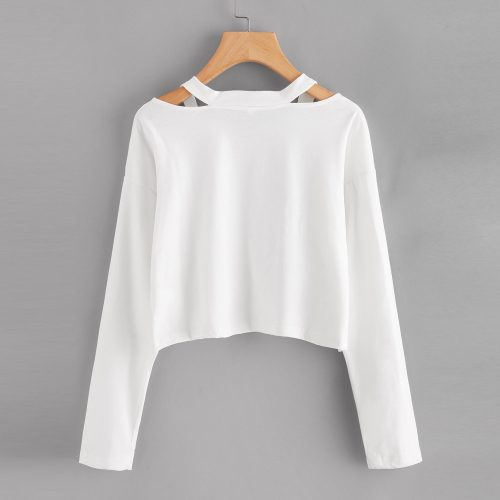 white sweatshirt with cuts