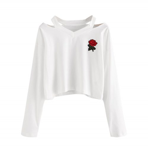 Long Sleeve Sweatshirt Rose Embroidery White