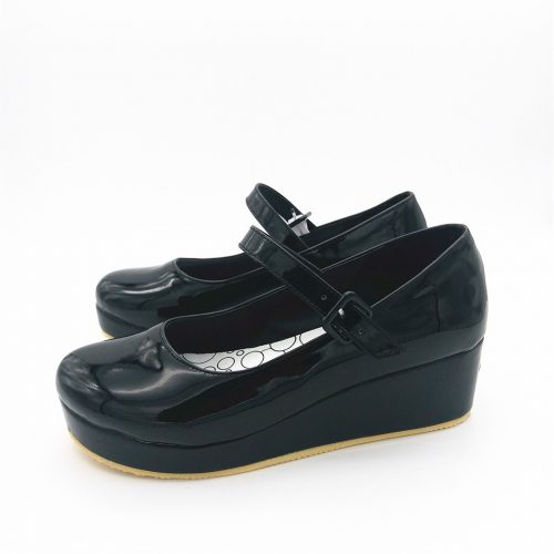Lola Shoes Black Glossy Wedges