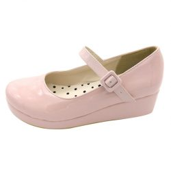 Lola Shoes Pink Glossy Wedges