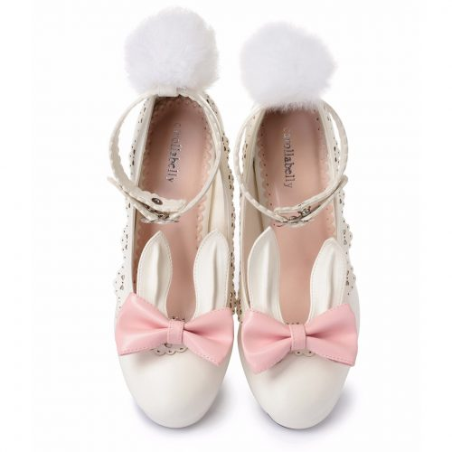 Lolita Shoes Bunny tail ears bow