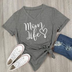 Mom Life Shirt Grey