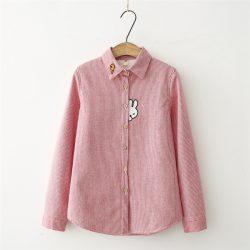 Bunny Fleece Striped Flannel Shirt Red