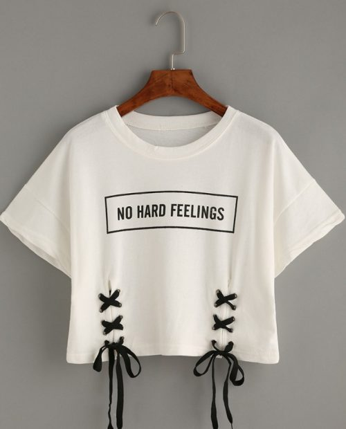 No Hard Feelings Lace Up Crop Top