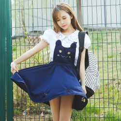 Navy Blue Kawaii Cat Paw Apron Dress