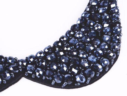 Peter Pan Collar Crystal Beads Necklace Dark Blue