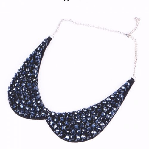 Peter Pan Collar Crystal Beads Necklace Dark Blue