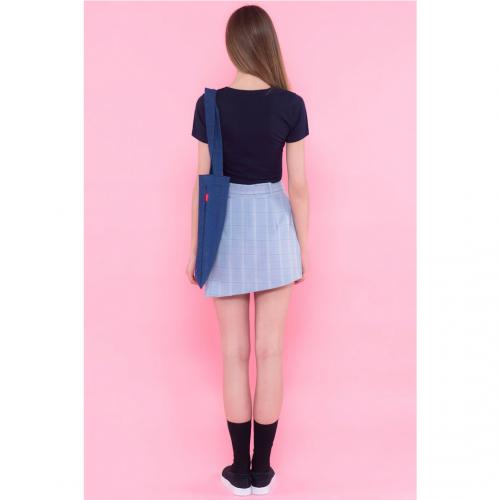 High Waisted Plaid Skirt Blue