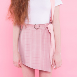 High Waisted Plaid Skirt Pink