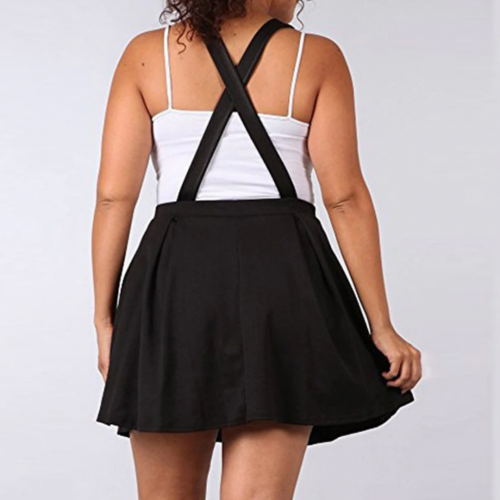 Pleated High Waist Skirt with Straps Black Plus Size