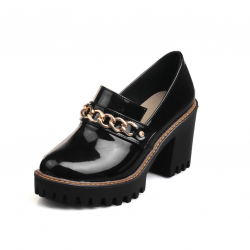 Glossy Platform Pumps Chain Black