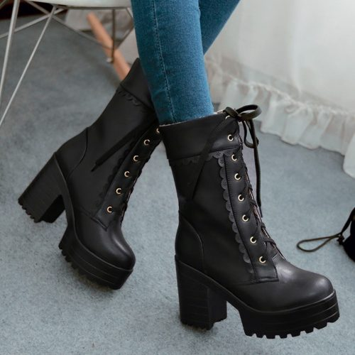 Block Heel Boots Lace Up