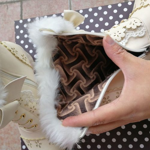 Lolita Flower and Fur Boots