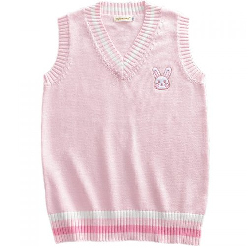 Pink Pullover Vest Rabbit Embroidery