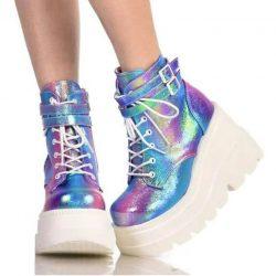 Glitter Multicolor High Platform Boots