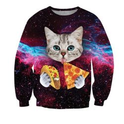 Space Pizza Taco Cat Sweatshirt 3D Printed