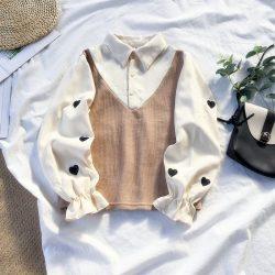 Heart embroidery long sleeve shirt