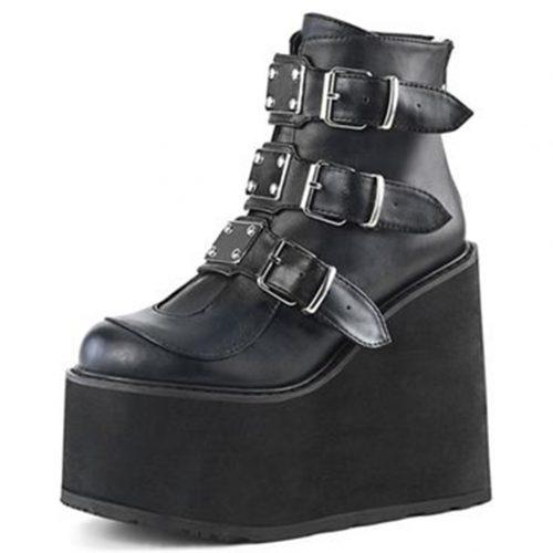 High Platform Ankle Boots Straps