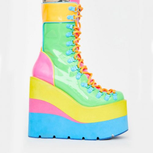 Mid Calf Colorful Zipper Buckle Boots