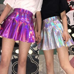Holographic Pleated Skirt