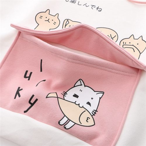 Kawaii Hoodie Cartoon Cat Fish Sweatshirt