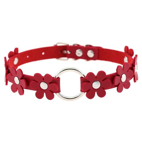 Flower Leather Choker Collar Necklace