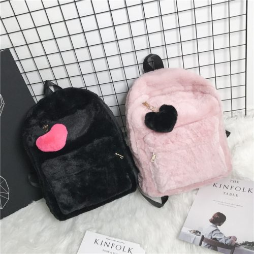 Faux Fur Backpack Heart Pendant