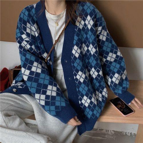 Argyle Knitted Long Sleeve Cardigan